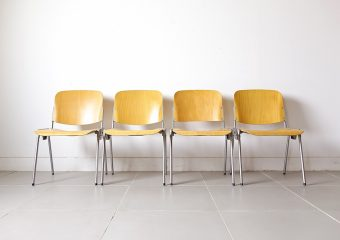 beech stacking chair / industrial