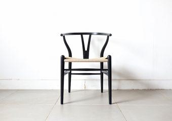 """CH24"" Y chair BEECH BLACK NATURAL PAPERCORD by Hans J. Wegner"