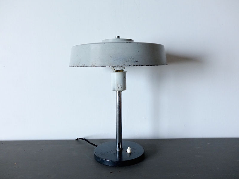 Gray shade desk lamp