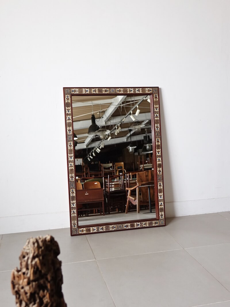 Large Mirror by Haslev with Royal Copenhagen