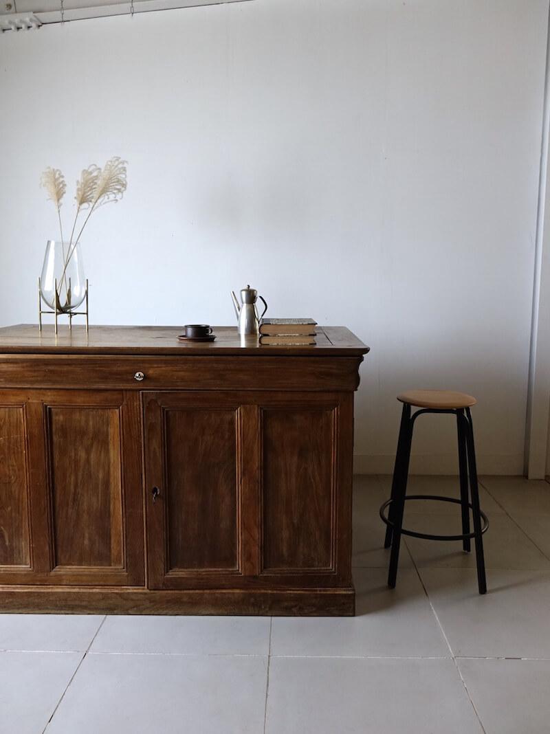 Huge wood shop counter / アンティークカウンター