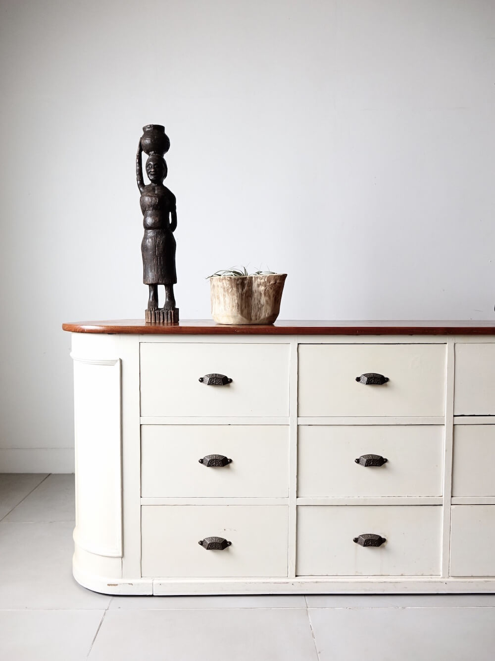 White painted counter