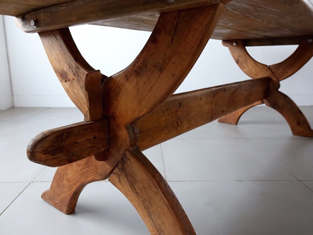 Cross leg old pine table