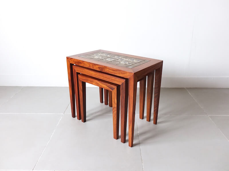 BACA Tile top nesting table by Haslev with Royal Copenhagen