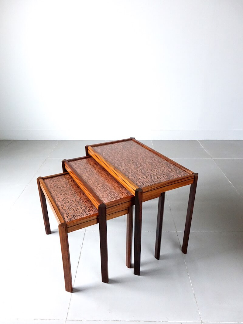 Copper top nesting table in Rosewood
