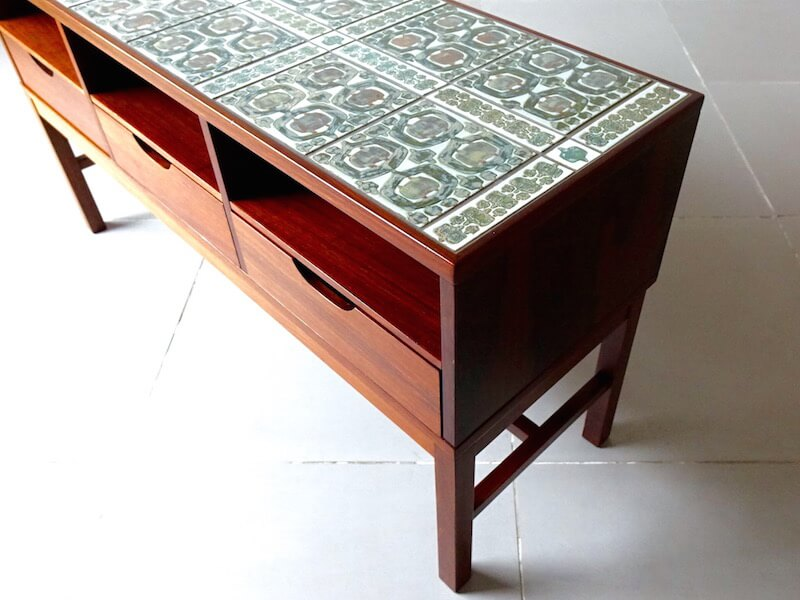 Tenera Tile top chest by Haslev with Royal Copenhagen