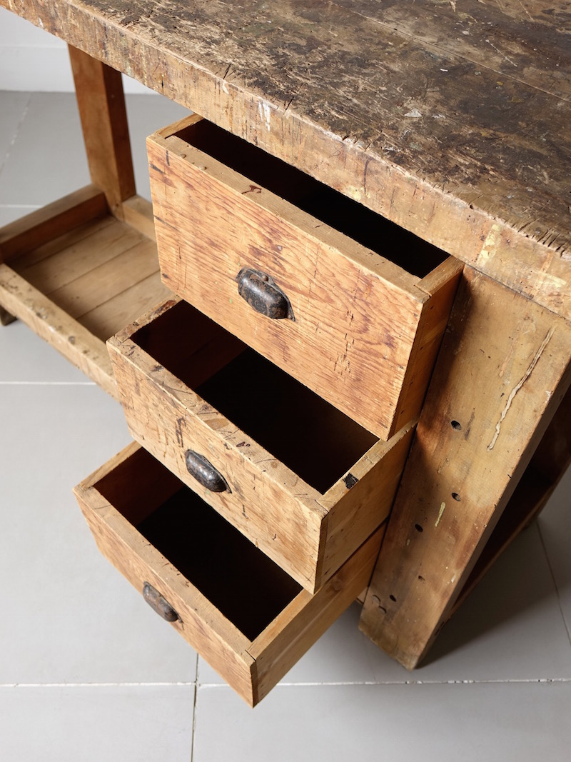 Old pine work table