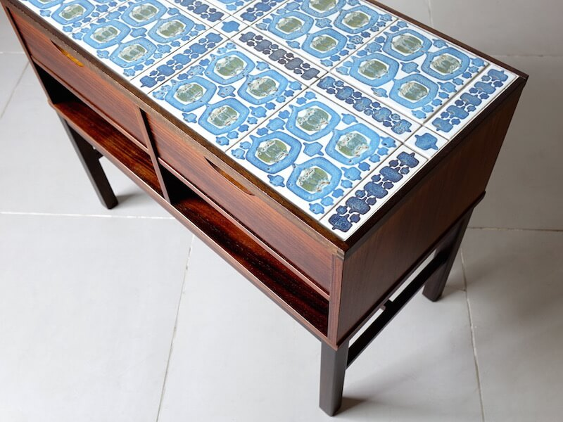 """Tenera"" Tile top chest by Haslev with Royal Copenhagen"