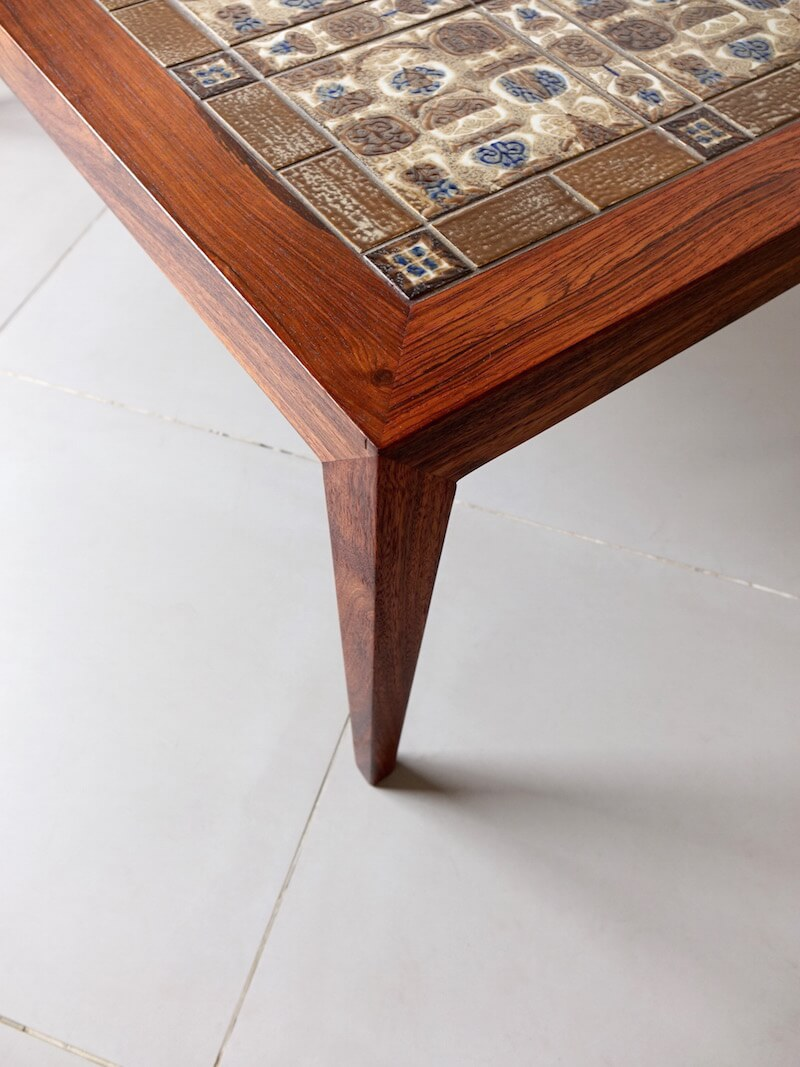 Large coffee table by Haslev with Royal Copenhagen