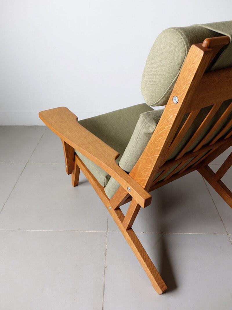 GE375 Highback chair by Hans J. Wegner for GETAMA with Guell fabric