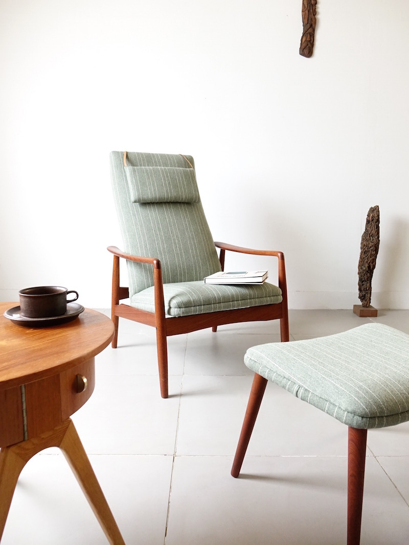 Highback chair with Ottoman by Søren Ladefoged for SL Mobler
