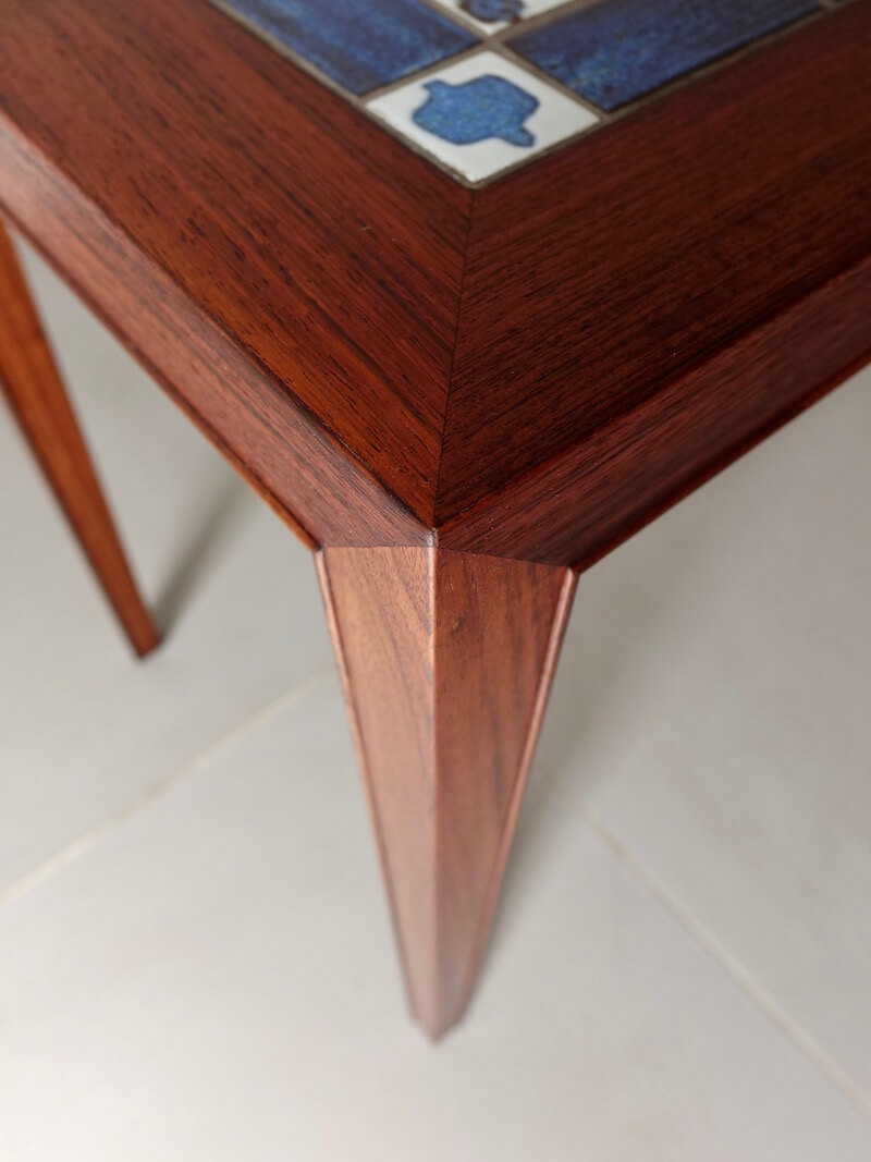 TENERA Tile top side table by Haslev with Royal Copenhagen