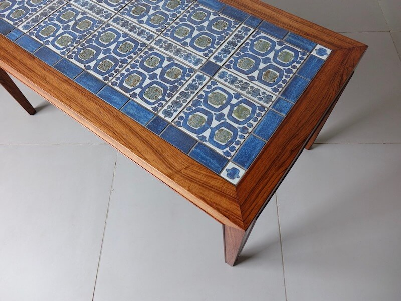 TENERA Tile top coffee table by Haslev with Royal Copenhagen