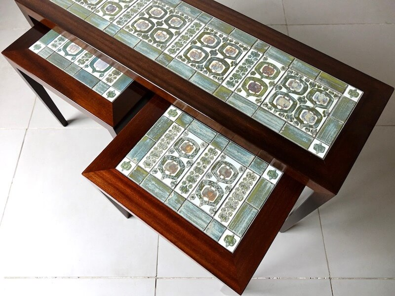 Tenera Tile top nesting table by Haslev with Royal Copenhagen