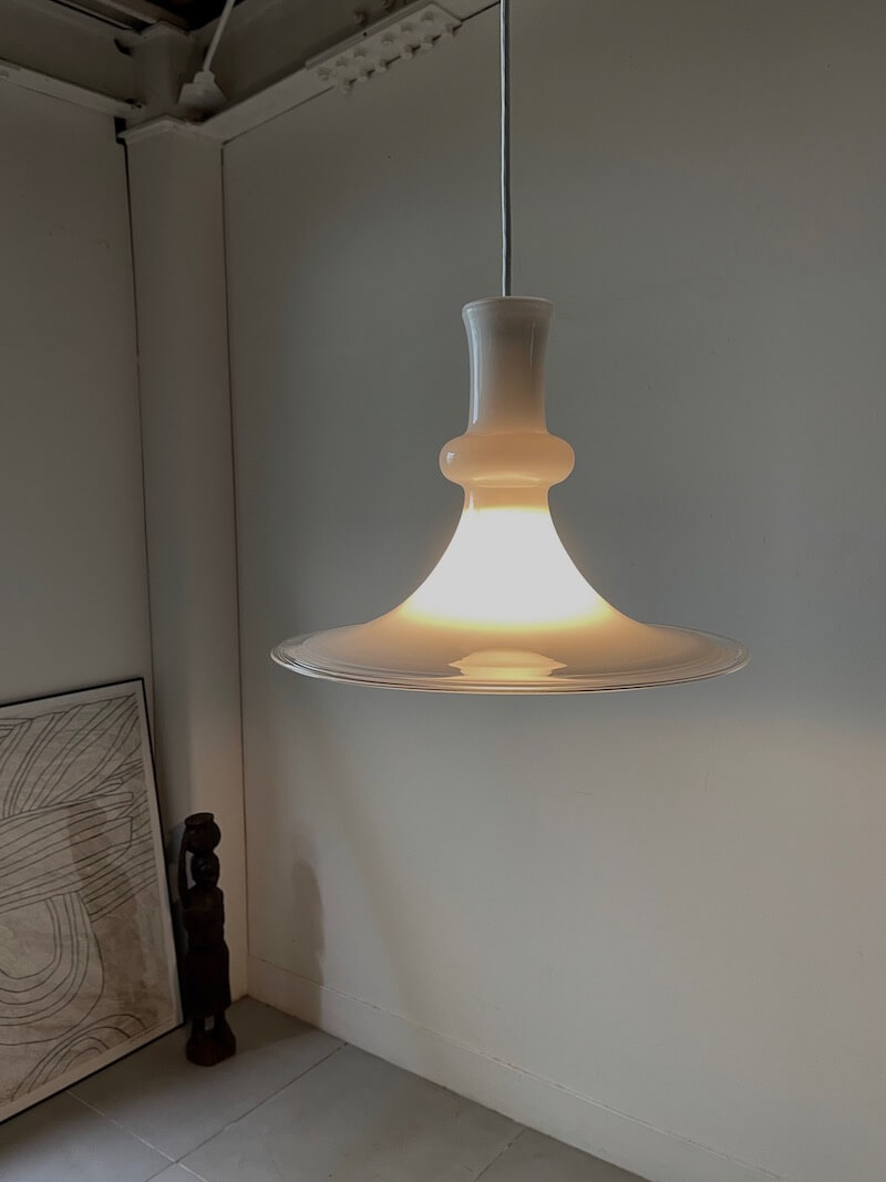 """White Glass Pendant Lamp """"Etude"""" by Michael Bang for Holmegaard"""