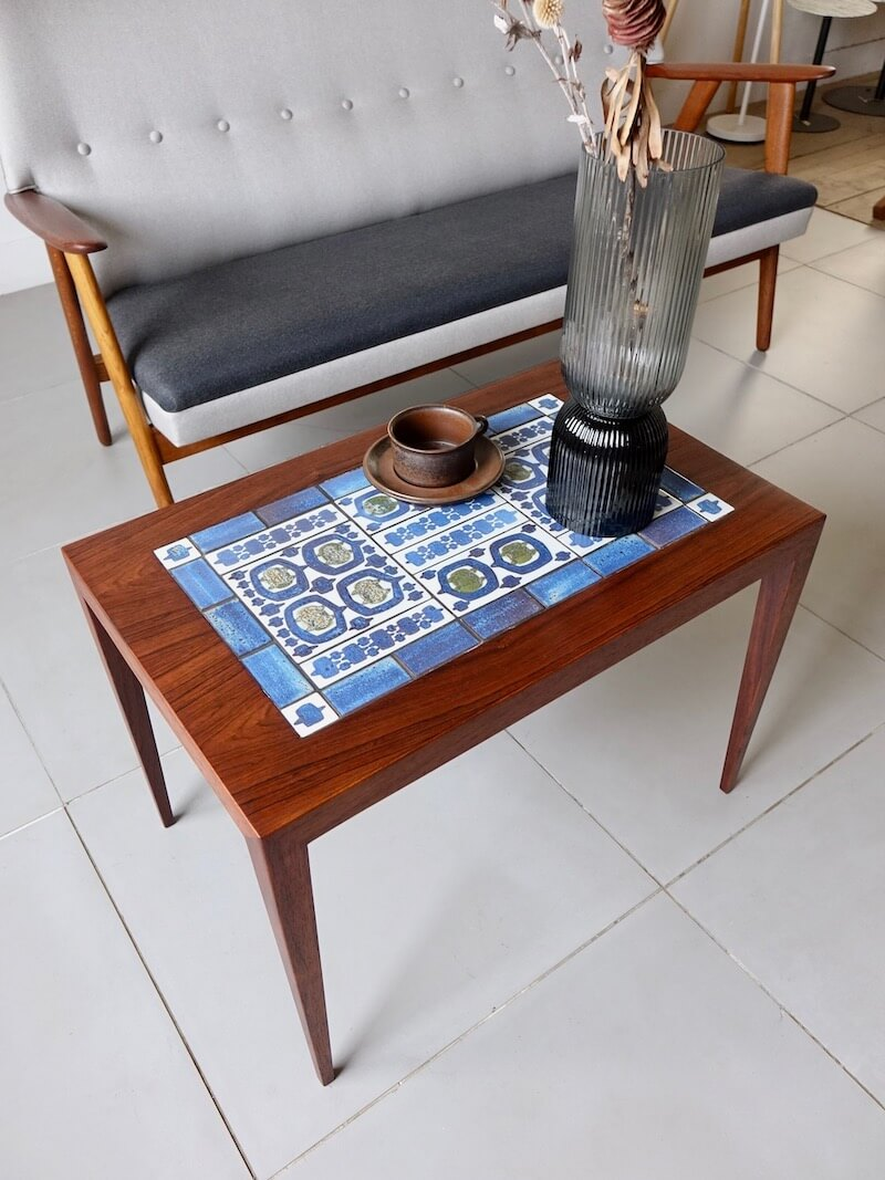 Tenera Tile top table by Haslev with Royal Copenhagen