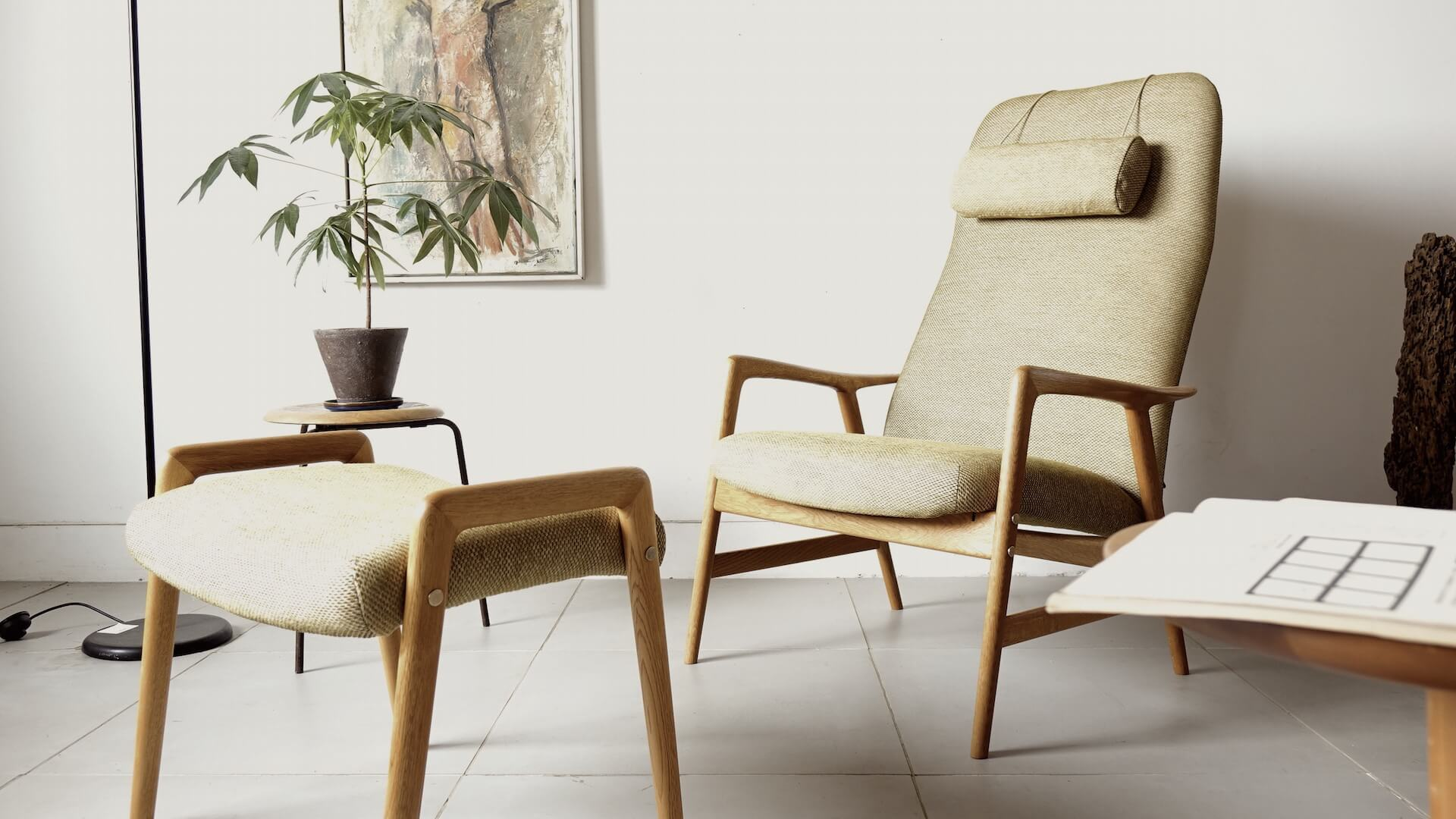Eazychair with stool by Alf Svensson