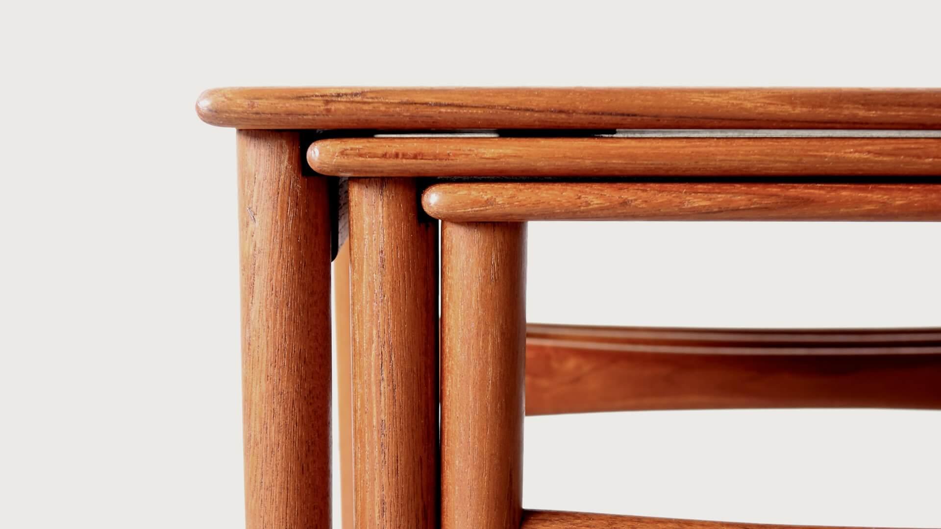 """AT40"" Nesting table (solid teak) by Hans J. Wegner"